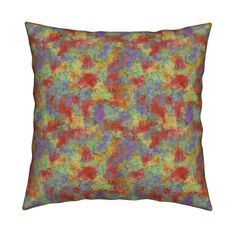 Catalan Throw Pillow featuring PAINTED CRACKED LAYERS OF COLORS AUTUMN SUN by paysmage | Roostery Home Decor