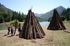 The dance ground and bark huts of the Winnemem Wintu