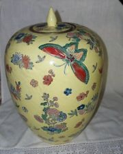Great Qing Tongzhi Nian Zhi Marking Cloissone or Ginger Jar Yellow Butterflies