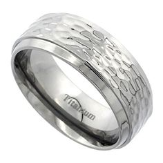 Titanium 8mm Wedding Band Hammered Ring Flat Beveled Edges Polish Finish Comfort Fit  sizes 7 - 14.More info for diamond rings;wedding dress jewelry;bridal pearl necklace;pearl jewelry set;jewelry rings could be found at the image url.(This is an Amazon affiliate link and I receive a commission for the sales)