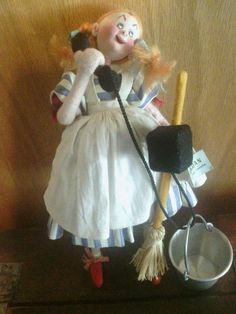 """Colorful Made in SPAIN Cloth Lady DOLL with Bucket 9.5"""""""