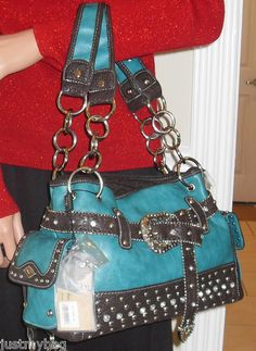 Quality 'Montana West' Belted Western Bag, Turquoise