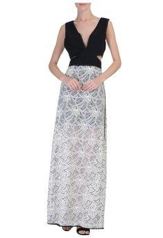BO.BÔ - Vestido longo bloom - preto - OQVestir