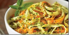 Eat Raw, Eat Well:  Vegan carrot and parsnip fettuccine with pesto