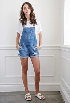 Distressed Denim Overall Shorts | Forever 21 #forever21denim