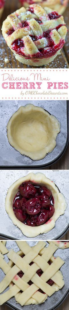 Mini Cherry Pie recipe - a fun way to make a small version of your favorite pie! They are so cute, easy and delicious, plus you get a whole pie to yourself! Mini Desserts, Chocolate Desserts, Easy Desserts, Delicious Desserts, Yummy Food, Chocolate Muffins, Mini Cherry Pies, Mini Pies, Cupcakes