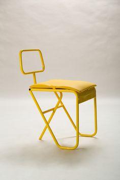 Yellow summer on Behance Design Furniture, Chair Design, Garden Furniture, Metal Chairs, Cool Chairs, Metal Pipe, Galvanized Metal, Creative Design, Cool Designs
