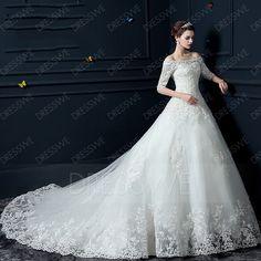 買う 現代のオフショルダーハーフスリーブアップリケチャペルの列車のウェディングドレス オンラインでは、 Dresswe.Comは高品質のファッションを提供しています,価格: USD$190.79