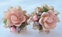 Vintage SEA SHELL FLOWER EARRINGS like Great Aunt Mabel used to make!