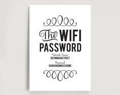 WIFI Password Sign Wifi password printable von BlissPaperBoutique