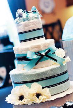 black and aqua diaper cake