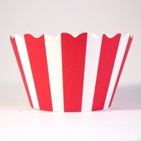 Red & White Striped Cupcake Wrappers by Bella Cupcake Couture