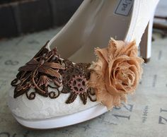 ELOISE romantic Victorian, vintage inspired steampunk wedding shoes, made to order sizes 5 - 11, 12. $148.00, via Etsy.