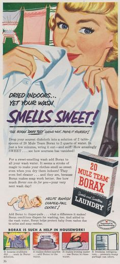 1951 Borax Laundry Detergent Advertisement ~ Borax is also one of the few things that's effective at killing ants!