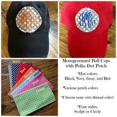Monogrammed Polka Dot Patch Ball Caps!