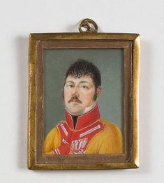 ESCUELA ESPAÑOLA, SIGLO XIX Retrato en miniatura de teniente coronel dragones. H. 1815-20. Temple sobre marfil. 6 x 4,8 cms.