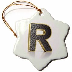 3dRose Monogram letter R in golden metal with perforated front in gray, Snowflake Ornament, Porcelain, 3-inch