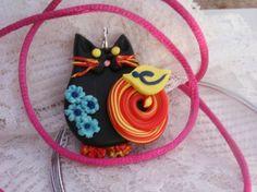 Black Cat Pendant lucky black cat little bird by LiloLilsEmporium