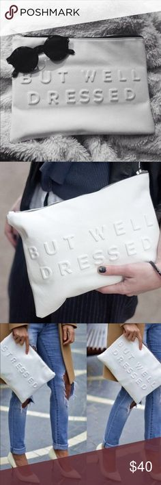 """Zara """"Stressed but Well Dressed"""" White Clutch Zara """"Stressed but Well Dressed"""" White Clutch. Reposted due to previous buyer reporting stains on the clutch. Such stains are very small and on the corner as clearly shown in the pictures. Clutch was used a few times. Material is a white faux leather. Measures 12.5 x 9 inches. Zara Accessories"""