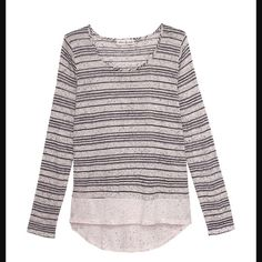 NWT Olive & Oak semi sheerSpeckled Stripe Pullover Speckled stripe jersey Slight Hi/Lo Scoop Neck. White with black. Super lightweight, semi sheer. 75% rayon, 25% poly.  No stretch to this. Great for layering. Runs small!! Size large but may be better suited for medium. Olive & Oak Tops Tees - Long Sleeve