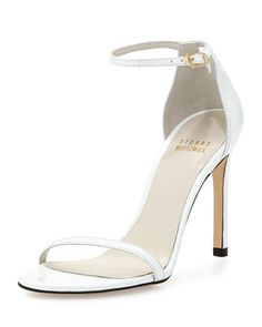 Nudistsong Metallic Ankle-Strap Sandal, White by Stuart Weitzman at Bergdorf Goodman.