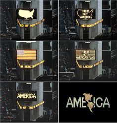 "Alfredo Jaar. ""A Logo for America,"" 1986 Public intervention at Times Square, New York, USA. © Alfredo Jaar, courtesy Galerie Lelong, New York."