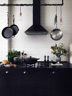 black pot rack w/ lights