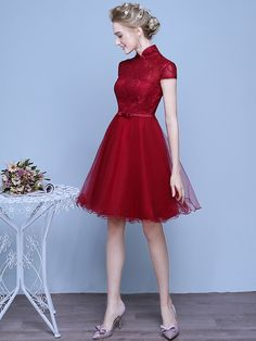A-Line Tulle Qipao / Cheongsam Wedding Dress in Lace