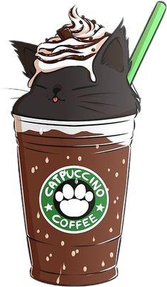 cat Chat starbuks coffee cafe cute Sticker by 🌹 Cute Food Drawings, Cute Animal Drawings Kawaii, Cute Cartoon Drawings, Cartoon Art, Cute Disney Wallpaper, Kawaii Wallpaper, Wallpaper Iphone Cute, Cute Cartoon Wallpapers, Iphone Backgrounds