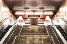 Berlin . Subway and Symmetry . 2013 #Berlin #Subway #Symmetry #Underground #U-Bahn #Red #Stairs #UrbanPhotography G|C Photographer: Foto