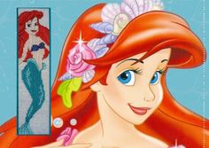 Bookmark Ariel embroidered on plastic canvas.