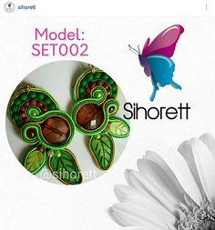 Soutache Estilo Étnico #Sihorett #Soutache #Earrings #Zarcillos #fashion #moda #green #verde