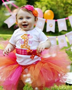 First Birthday Girl Bodysuit, Pink and Orange, Birthday Outfit, I'm One, Number One