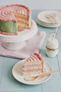 Angel food cake with white chocolate ganache and raspberry