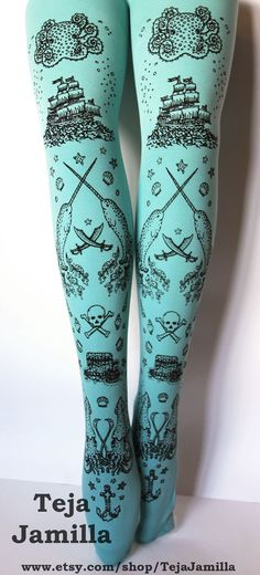 Pirate Printed Narwhal Tights Small Black Pearl on by TejaJamilla