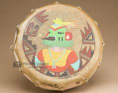 "Native American Hopi Indian Painted Drum 12.5"""" - Thunderbird Kachina (pd90)"