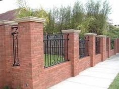 Boundary Walls, Brick Fence, Brick Walls, Landscape, School, Fence Design,  Main Entrance, Google Search, Grills