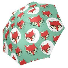 InterestPrint Hipster Red Fox Face in Glasses Blue Foldable Travel Rain Umbrella *** To view further for this item, visit the image link. (Note:Amazon affiliate link) #LuggageTravelGear