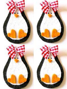 Items similar to Set of 4 pieces handmade felt applique Penguin Baby Girl on Etsy Felt Crafts, Holiday Crafts, Crafts To Make, Crafts For Kids, Arts And Crafts, Felt Christmas Ornaments, Noel Christmas, Felt Diy, Handmade Felt