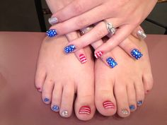 Forth of July nails & toes 4th Of July Nails, July 4th, Texas Nails, Toe Nails, Nail Nail, Patriotic Nails, Sassy Nails, Painted Toes, New Nail Designs