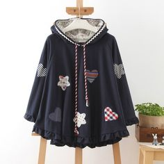 Style: sweet Fabric: Cotton Blend Color: beige, navy Size: One Size Shoulder: unlimited Bust: unlimited Sleeve: 52cm Length: 58cm visiting store: http://www.storenvy.com/stores/188265-cute-kawaii find more amazing cute fashion things, some suit for you!