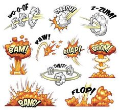 Illustration of Comic explosions colorful set with different wordings clouds explosive and boom effects isolated vector illustration vector art, clipart and stock vectors. Graffiti Alphabet, Graffiti Lettering, Graffiti Art, Create Your Own Comic, Graffiti Cartoons, Graffiti Designs, Pop Art Design, Pics Art, Art Drawings Sketches