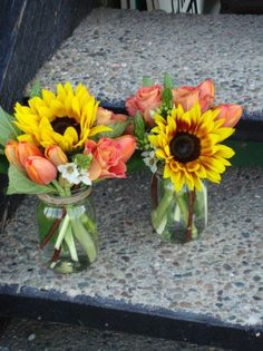 sunflower Mason Jar Centerpieces | sunflowers, orange tulips, mason jar, thanksgiving, hydrangea, rose …