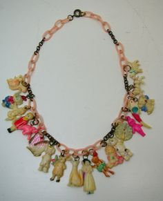 Kitsch vintage celluloid charm necklace
