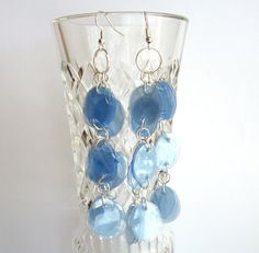 Upcycled jewelry blue chandelier earrings made of recycled plastic bottle - eco friendly, long earrings, boho, gypsy Recycled Jewelry, Recycled Bottles, Recycle Plastic Bottles, Unique Jewelry, Blue Chandelier, Chandelier Earrings, Reuse, Upcycle, Bottle Jewelry