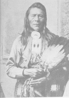 """KANATAKASU  SAMSON  CHIEF  1879-99  When Maskipitoon died in 1869 a new leader Kanatakasu, also known as Samson took his place. In the Cree language the word Samson means """"touching the ground"""". Legend has it that Chief Samson was a very large baby and when his mother placed him in his hammock he was so heavy that he touched the ground. He became the first Chief of the new Samon Cree Nation in 1879 and served as Chief until his death on July 15, 1889."""