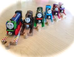 Washi tape on wooden train tracks. A little idea from woodpeckers.