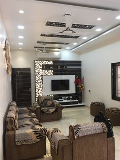 Living Hall Lcd Tv Wall Design Unit Ceiling Units