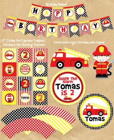 Fire Truck Party Package PERSONALIZED by YourPrintableParty