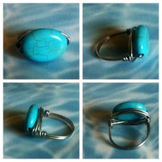 Oval Turquoise and Silver Ring   12.00